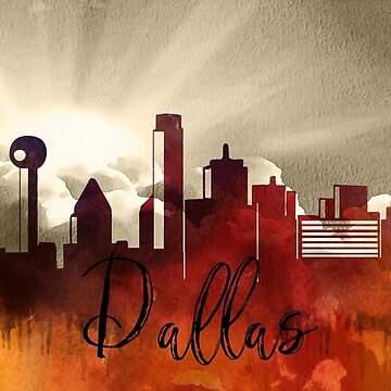 Dallas | CIty Skyline | Colorful Watercolor by PraiseQuotes