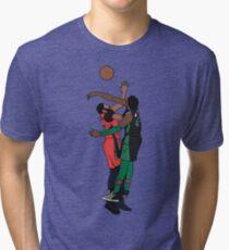 Robert Williams III Blocks Anthony Davis Tri-blend T-Shirt
