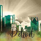 Detroit | Stadt Skyline | Buntes Aquarell von PraiseQuotes