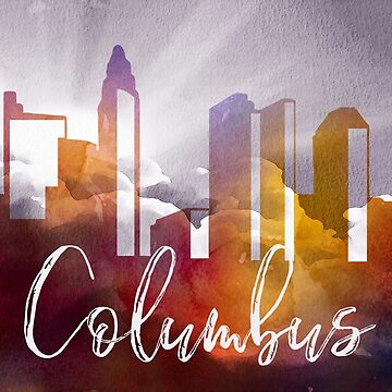 Columbus | CIty Skyline | Colorful Watercolor by PraiseQuotes