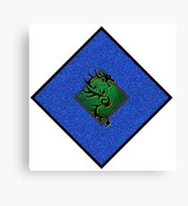 Dragon Silhouette over Blue and Green Glitter Squares Canvas Print