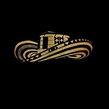 Colombian Sombrero Vueltiao in Gold Leaf and Black Ink by Diego-t