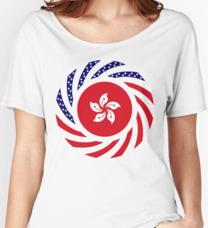 Hong Kong American Multinational Patriot Flag Series Relaxed Fit T-Shirt