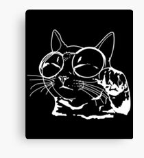 Funny Cat with glasses on Face Gift idea Canvas Print