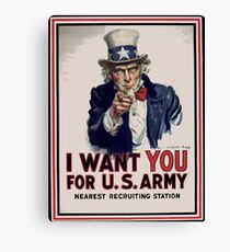 Americana Uncle Sam Recruiting Vintage Poster Canvas Print