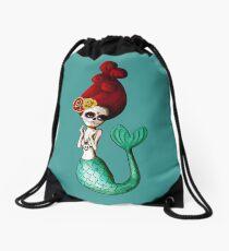 El Dia de Los Muertos Mermaid Drawstring Bag