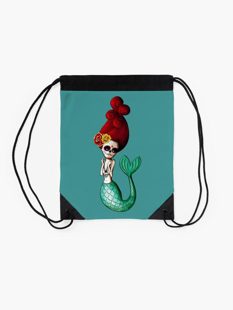 Alternate view of El Dia de Los Muertos Mermaid Drawstring Bag