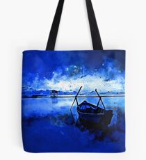 sunrise boat silence watercolor splatters cool blue Tote Bag
