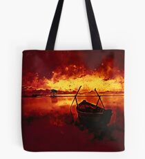 sunrise boat silence watercolor splatters edgy ember Tote Bag