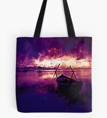 sunrise boat silence watercolor splatters late sunset Tote Bag