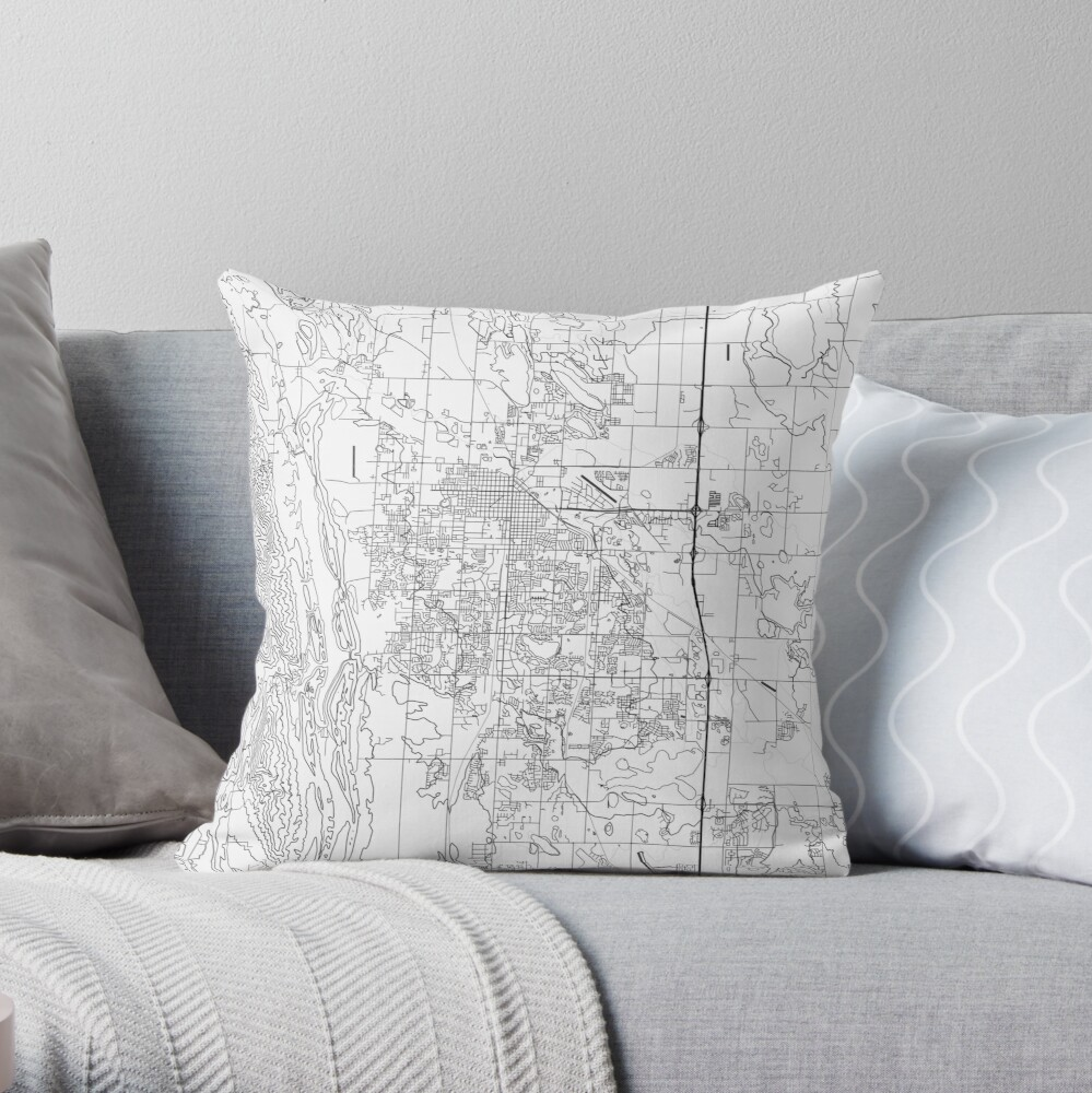 Fort Collins map poster print wall art, Colorado gift printable, Home and Nursery, Modern map decor for office, Map Art, Map Gifts Throw Pillow