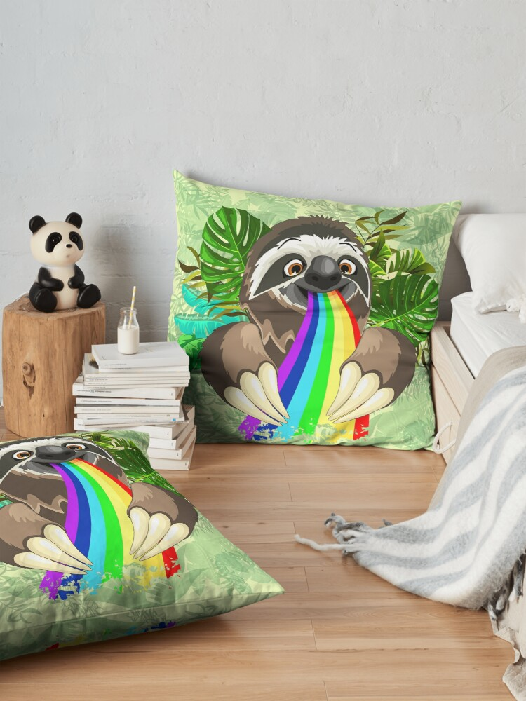 Alternate view of Sloth Spitting Rainbow Colors Floor Pillow
