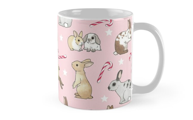 Christmas Rabbits and Candy Canes - pink by Hazel Fisher