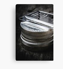 Coins of silver stacking Canvas Print