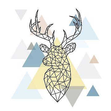 Scandinavian Geometric - Deer Head by HausOfAyr