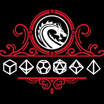 Polyhedral Dice and Dragons Red Tabletop RPG by pixeptional