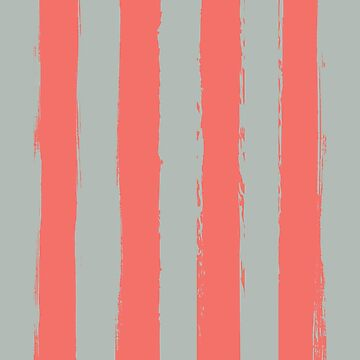 Living Coral Rustic Stripes With Pale Blue by broadmeadow