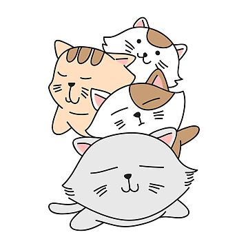 Kawaii Cat Pile: Cute T-Shirt For Anime & Cat Lovers by Dogvills