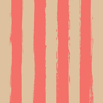 Living Coral Rustic Stripes With Pale Yellow by broadmeadow