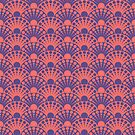 living coral and ultra violet art deco inspired fan pattern by VrijFormaat