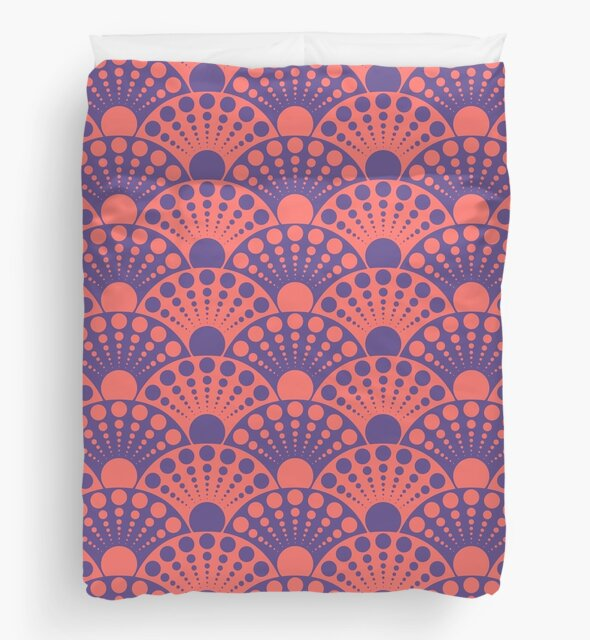 polka dotted fan pattern in living coral and ultra violet by VrijFormaat