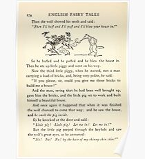 English Fairy Tales by Flora Annie Webster Steel art Arthur Rackham 1922 0224 Big Bad Wolf Huffing and Puffing Poster