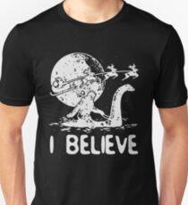 Bigfoot Sasquatch Riding Loch Ness Monster Christmas Unisex T-Shirt