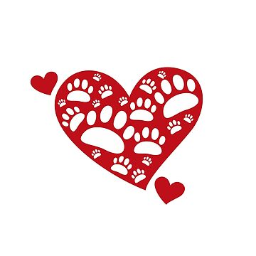 Super Cute Dog Paws Print & Heart T-Shirt:  Valentine's Day Gift Idea by Dogvills