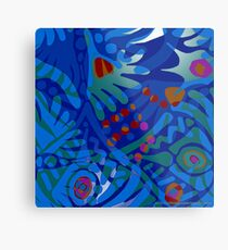 Colorful Tropical Print Abstract in Blue and Green Metal Print