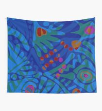 Colorful Tropical Print Abstract in Blue and Green Wall Tapestry