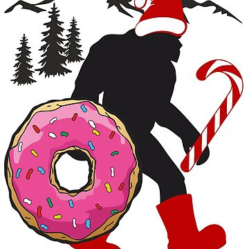 Bigfoot Sasquatch Christmas Santa Claus with Donut and Candy by furioso