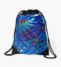 Colorful Tropical Print Abstract in Blue and Green Drawstring Bag