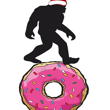 Bigfoot Sasquatch Christmas Rolling Donut  by furioso