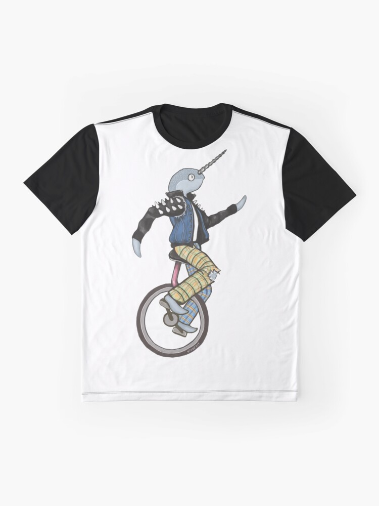 Alternate view of Narwhal Punk on a Unicycle Illustration Graphic T-Shirt