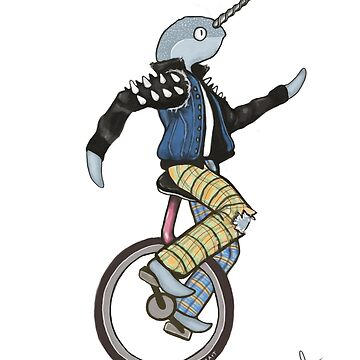 Narwhal Punk on a Unicycle Illustration by kikoeart