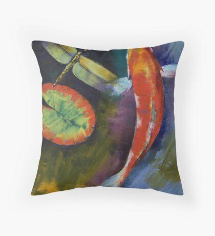 Red Dragon Koi Throw Pillow