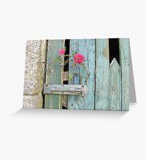 Cornish barn door with wild rose Greeting Card