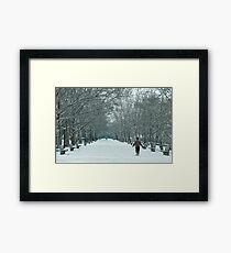 Winter Walk--Riverside Park New York City in Snow Framed Print