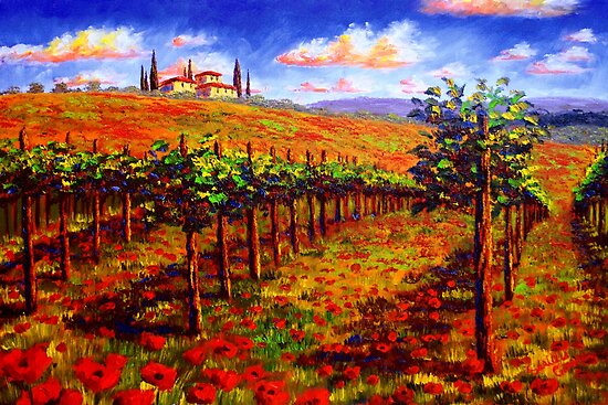 Tuscany Vineyard & Poppies by sesillie
