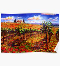Tuscany Vineyard & Poppies Poster