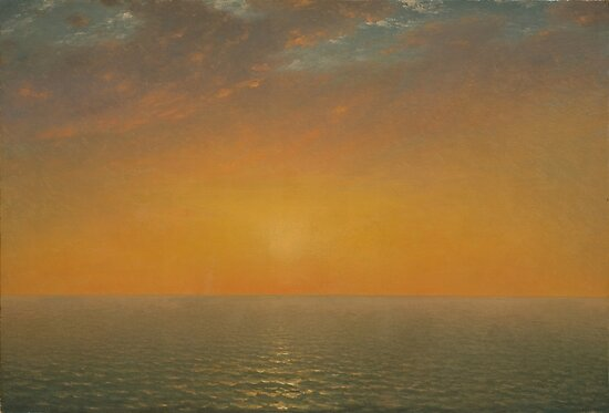John Frederick Kensett Sunset on the Sea, paintings for sale, romanticism, landscape, american landscape painting, 19th century art, Luminism by Art Gallery
