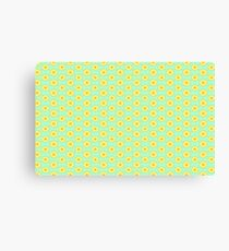 Yellow Starburst on Mint Green Floral Design Pattern Canvas Print
