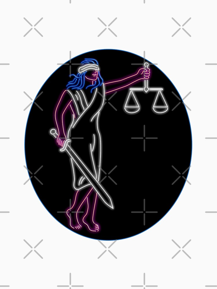 Lady Justice Holding Sword and Balance Oval Neon Sign by patrimonio