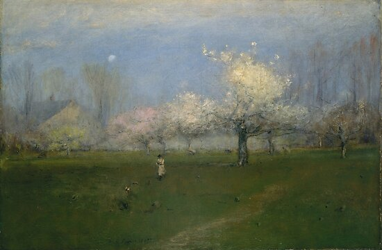 George Inness Spring Blossoms, Montclair, nj, paintings for sale, 19th century American landscape, countryside, field, evening, pastel, moon, rural by Design Team