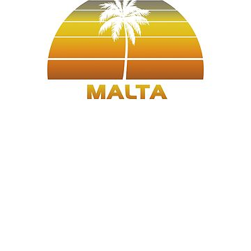Vintage Malta Beach Palm Tree Sunset Cool Family Vacation Souvenir by hlcaldwell
