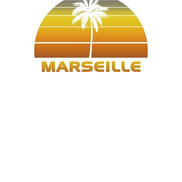 Vintage Marseille Beach Palm Tree Sunset Cool Family Vacation Souvenir by hlcaldwell