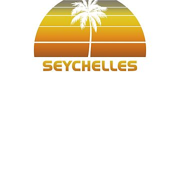 Vintage Seychelles Beach Palm Tree Sunset Cool Family Vacation Souvenir by hlcaldwell