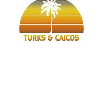 Vintage Turks & Caicos Beach Palm Tree Sunset Cool Family Vacation Souvenir by hlcaldwell
