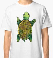 Green Watercolour Ink Drawn Turtle Pattern Classic T-Shirt