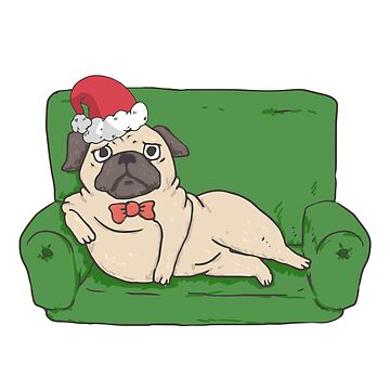 Bah Humbug Funny Holiday Pug Lover's T-Shirt Gift: | Santa Hat Pug | Merry Christmas | Gift For Pug Lovers | by larspat